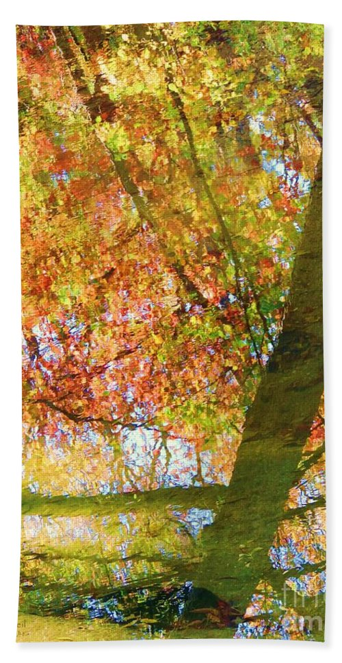 Fall Colors Hand Towel featuring the photograph Reflections Of A Colorful Fall 001 by Robert ONeil