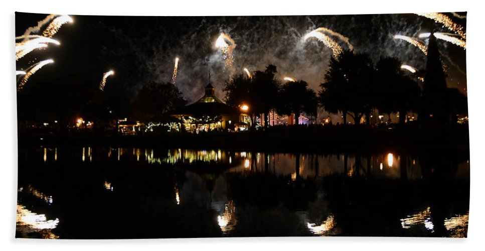 Epcot Park Florida Hand Towel featuring the photograph Reflections Of Epcot by David Lee Thompson