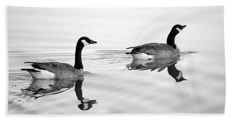 Canada Goose Hand Towel featuring the photograph Reflections Of Geese by Jason Politte