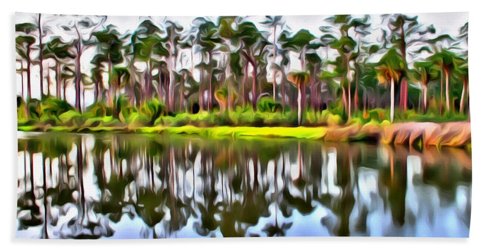 Pine Tree Scenics Old Florida Reflections Water Intracoastal Alicegipsonphotographs Bath Sheet featuring the photograph Reflections Of Pines by Alice Gipson