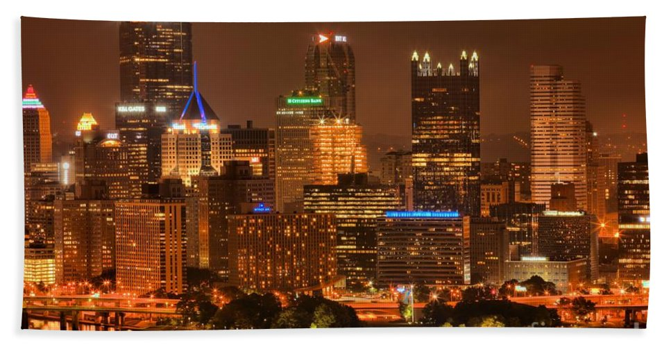 Pittsburgh Pennsylvania Bath Sheet featuring the photograph Reflections Of Pittsburgh by Adam Jewell