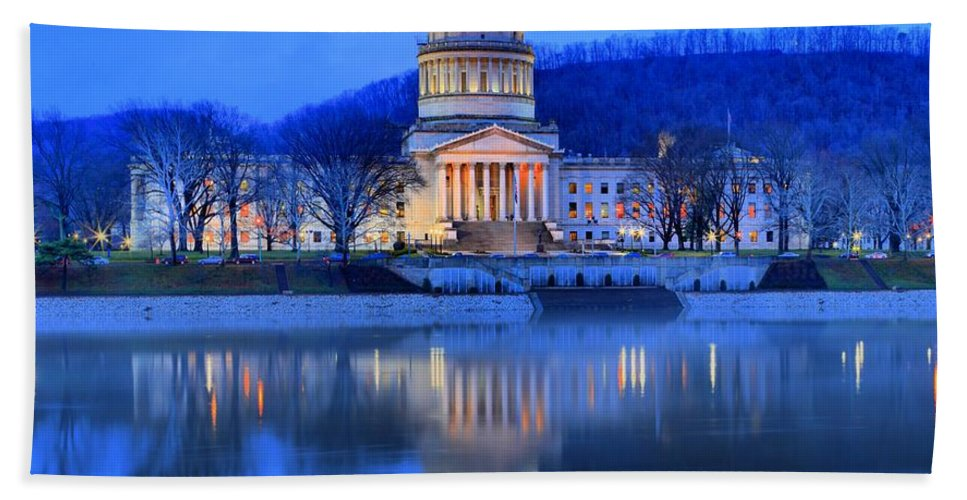 West Virginia Capitol Bath Sheet featuring the photograph Reflections Of The West Virgina Capitol Building by Adam Jewell