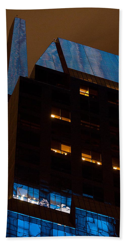 """""""new York City"""" Hand Towel featuring the photograph Reflections Of Times Square by Paul Mangold"""