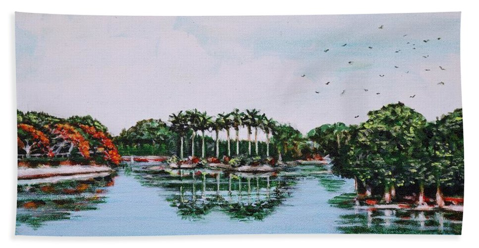 Lal Bath Sheet featuring the painting Reflections On Lal Bagh Lake by Usha Shantharam