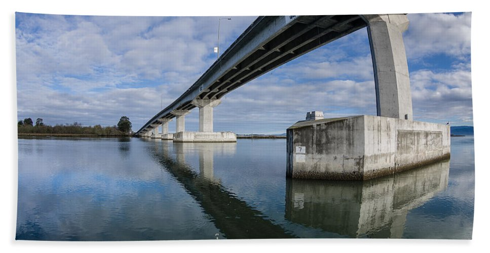 Humboldt Bay Hand Towel featuring the photograph Reflections On Samoa Bridge by Greg Nyquist