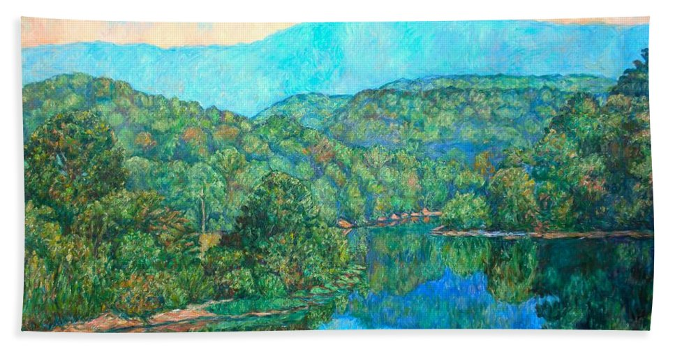 Mountainscape Hand Towel featuring the painting Reflections On The James River by Kendall Kessler