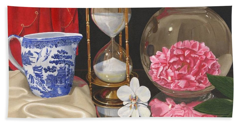 Still Life Hand Towel featuring the painting Reflections by Richard Harpum