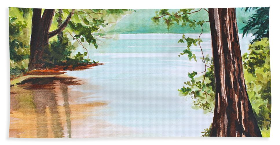 Cowan's Gap Hand Towel featuring the painting Reflections At Cowans Gap by Tricia Lesky
