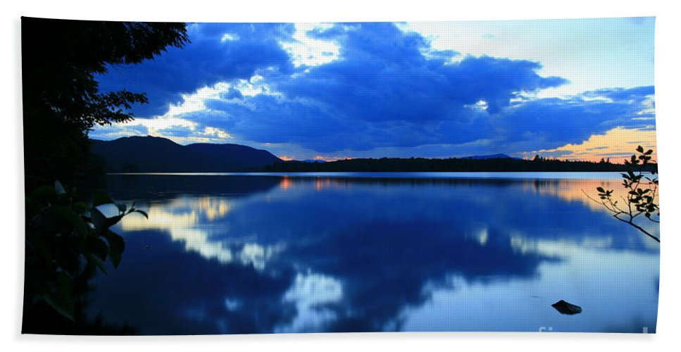 Sunset Hand Towel featuring the photograph Reflective Blues On Lake Umbagog by Neal Eslinger