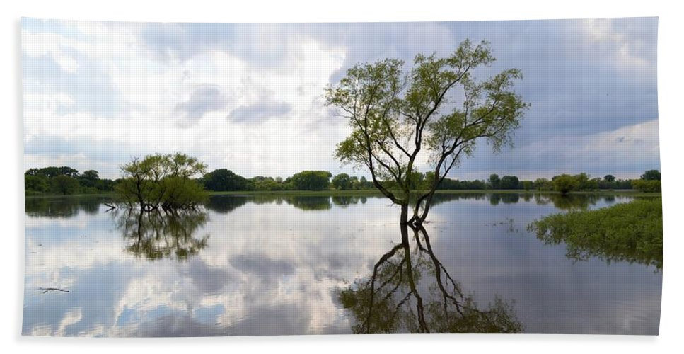 Reflective Bath Sheet featuring the photograph Reflective Flood Waters by Bonfire Photography