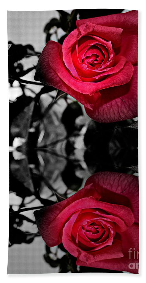 Reflective Red Rose Bath Sheet featuring the photograph Reflective Red Rose by Barbara Griffin