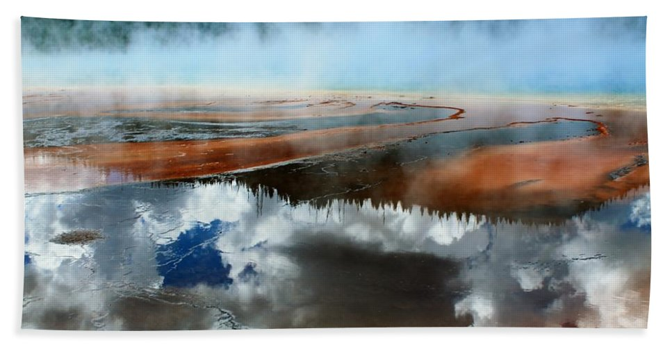 Yellowstone National Park Bath Sheet featuring the photograph Reflective Springs by Catie Canetti