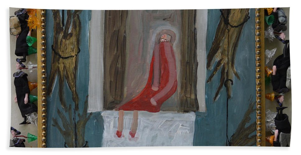 Abstract Modern Outsider Raw Trees Figure Throne Sit Sitting Lights Rocks Folk Refrigerator Rock King Bath Sheet featuring the painting Refrigerator Rock And The King - Framed by Nancy Mauerman