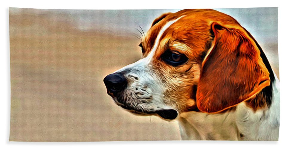 Beagle Dog Portrait Canine Hand Towel featuring the photograph Regal Beagle by Alice Gipson
