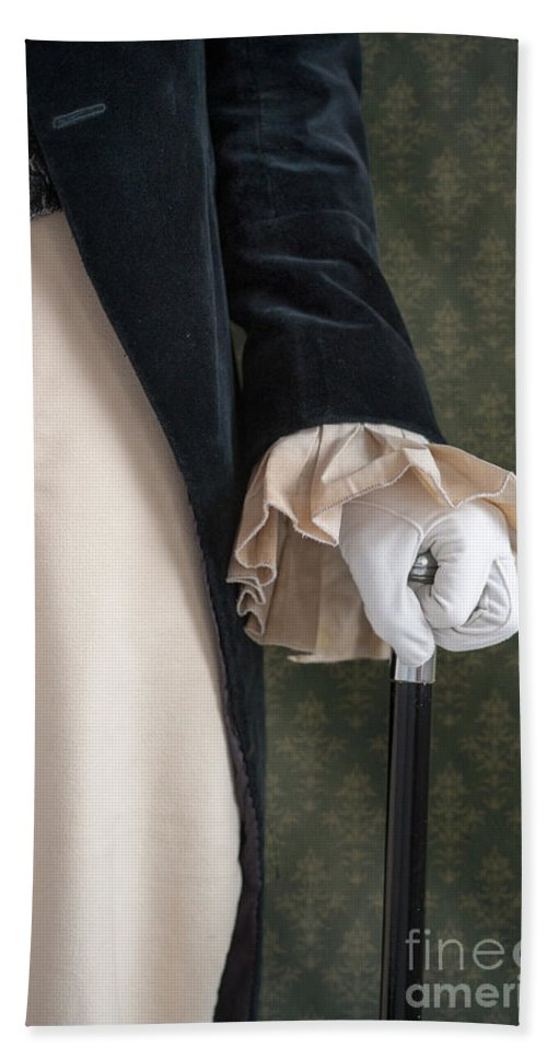 Victorian Hand Towel featuring the photograph Regency Man Holding A Silver Topped Cane by Lee Avison