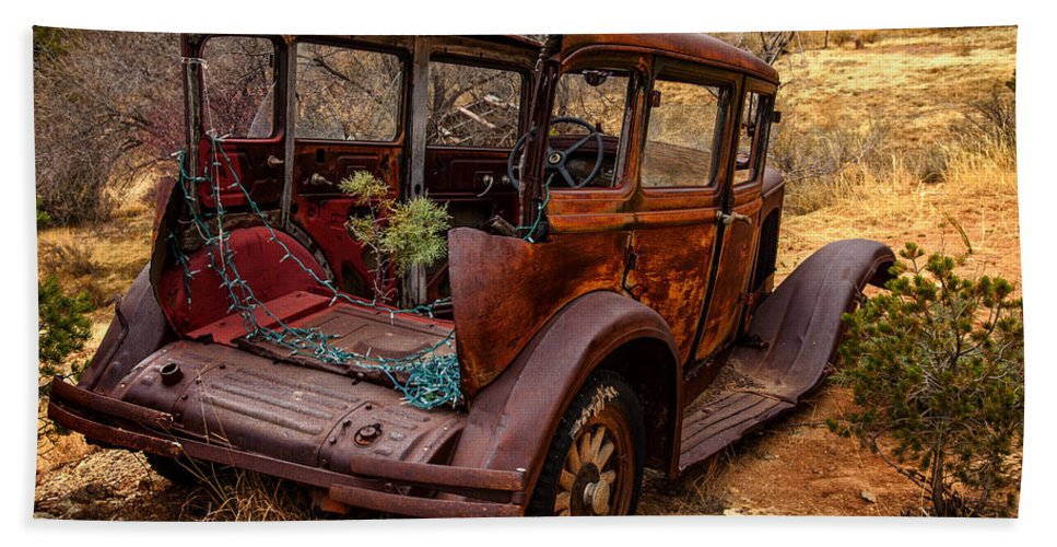 Rusty Car Hand Towel featuring the photograph Regeneration by Diana Powell