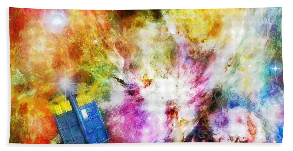 Tardis Hand Towel featuring the painting Regeneration by Sandy MacGowan