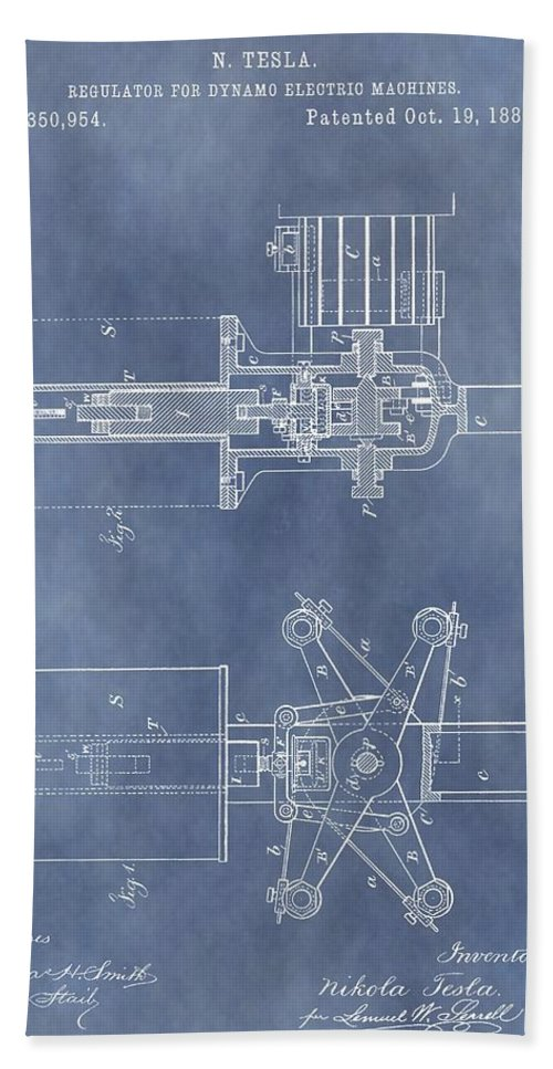 Regulator For Dynamo Electric Machine Patent Bath Sheet featuring the drawing Regulator For Dynamo Electric Machine Patent by Dan Sproul