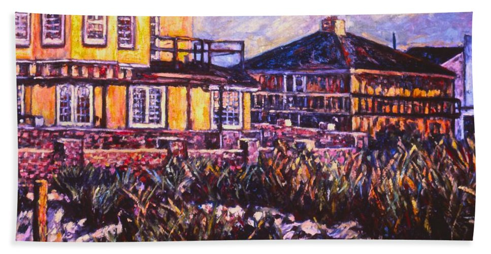 Landscape Bath Sheet featuring the painting Rehoboth Beach Houses by Kendall Kessler