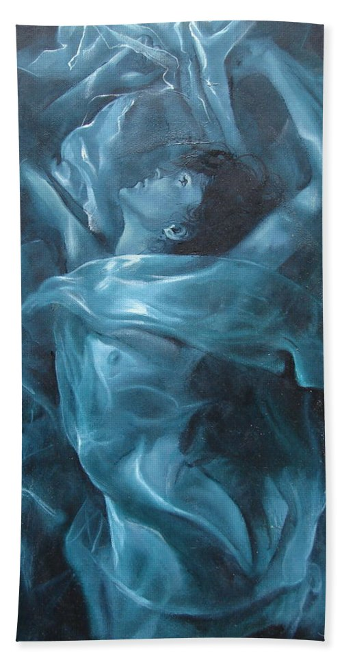 Oil Bath Towel featuring the painting Reincarnation by Sergey Ignatenko