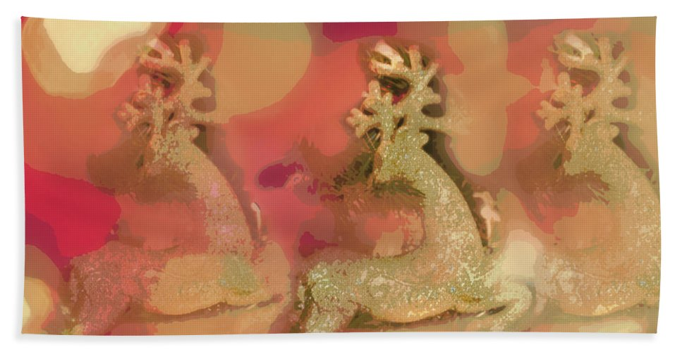 Digital Art Hand Towel featuring the photograph Reindeer On Parade by Paulette B Wright