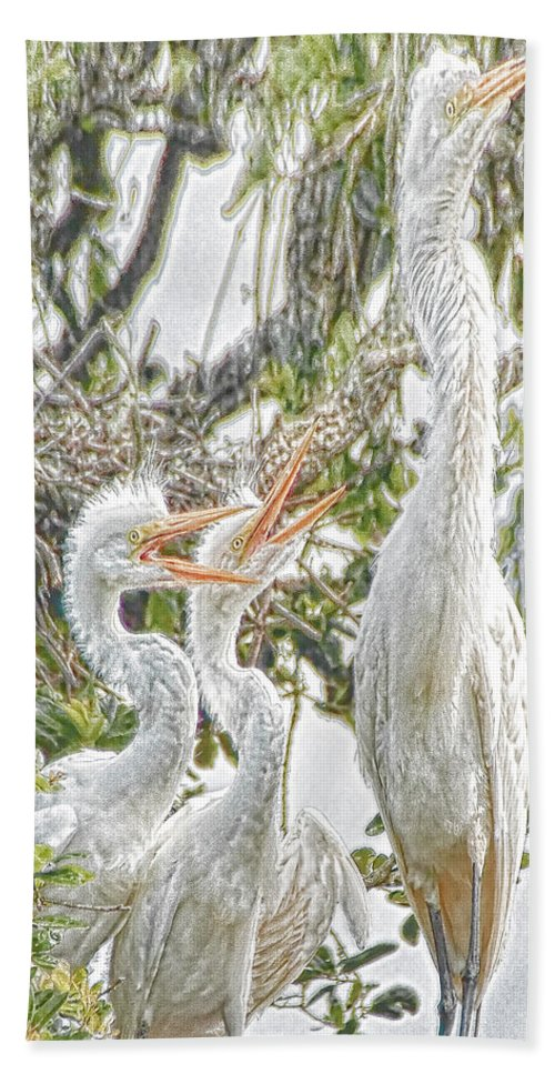 Great Egret Bath Sheet featuring the photograph Rejecting Fledglings by James Ekstrom