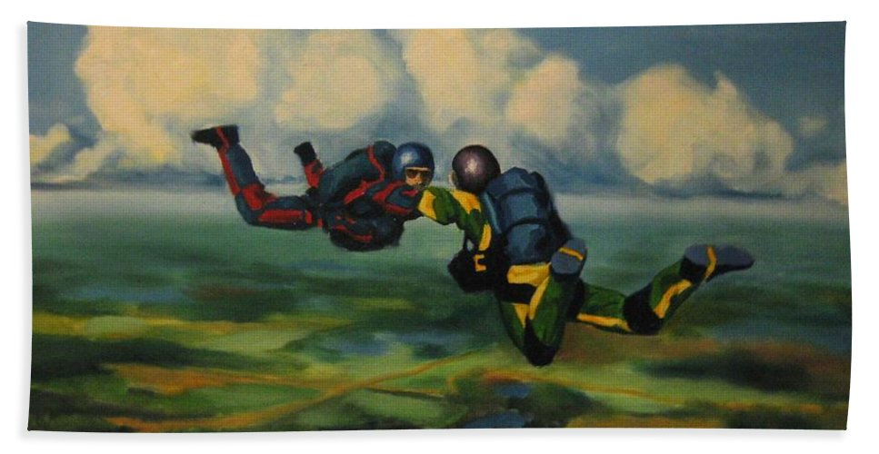 Skydivers Bath Towel featuring the painting Relative Work by John Malone