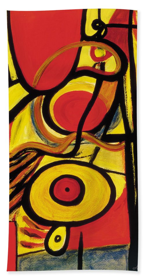 Abstract Art Hand Towel featuring the painting Relativity 2 by Stephen Lucas