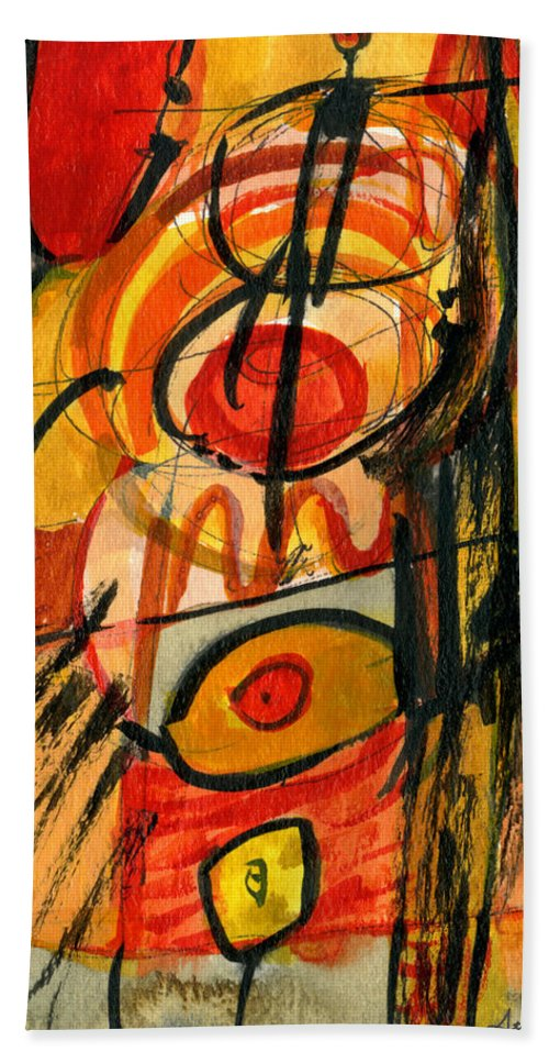 Abstract Art Hand Towel featuring the painting Relativity by Stephen Lucas