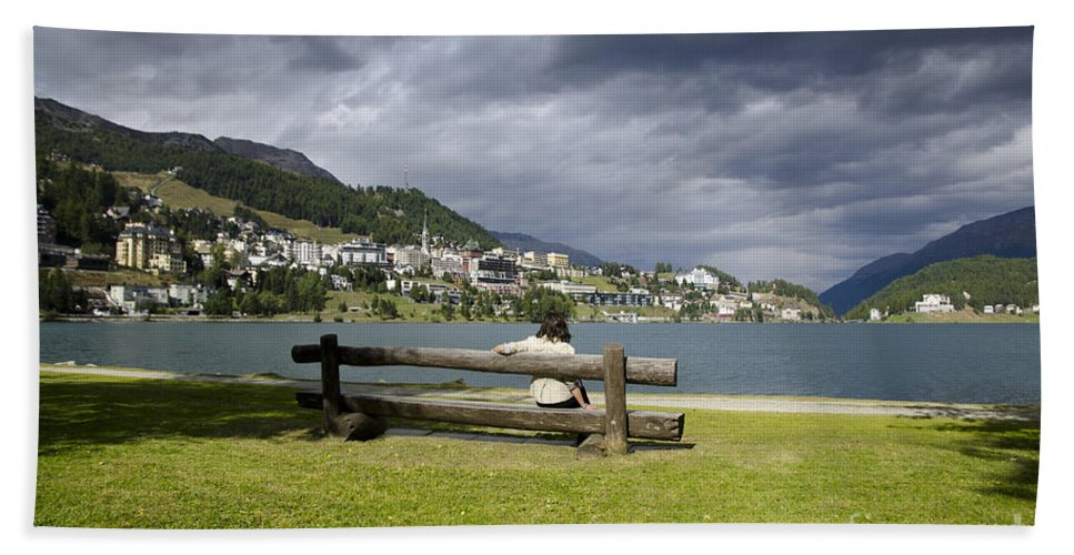 St Moritz Bath Sheet featuring the photograph Relax In St Moritz by Mats Silvan