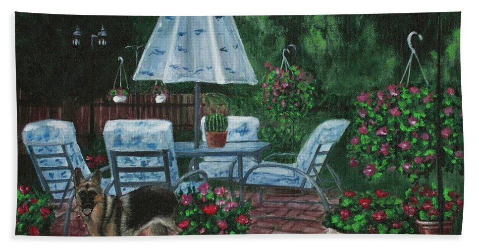 Plant Hand Towel featuring the painting Relaxing Place by Anastasiya Malakhova
