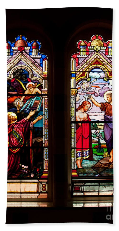 Art Hand Towel featuring the photograph Religious Stained Windows by Les Palenik