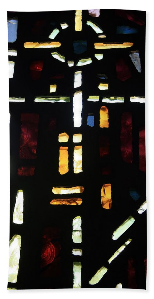 Glass Hand Towel featuring the photograph Religious Symbols In Glass by Cora Wandel