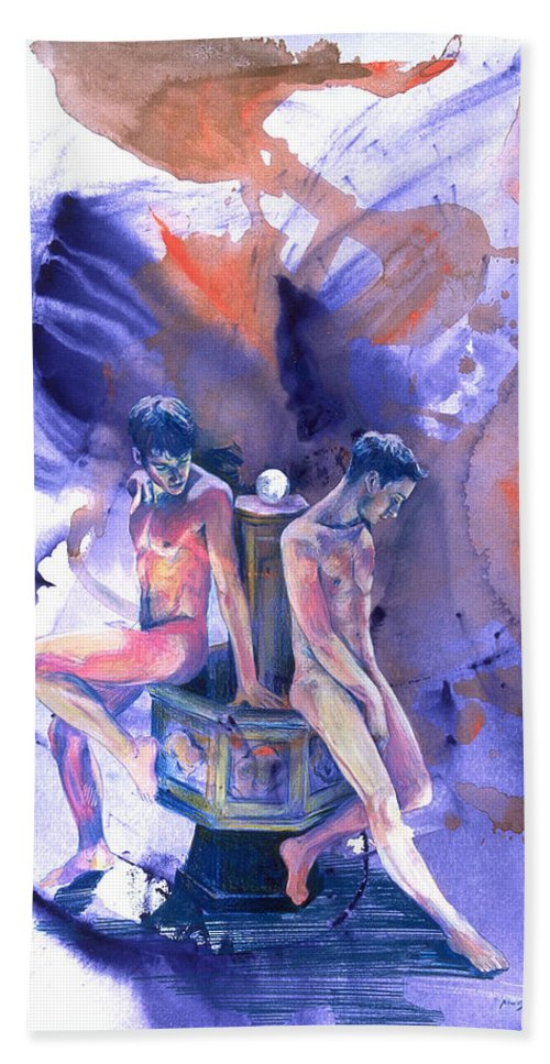 Male Nudes Bath Sheet featuring the painting Reluctant Grace by Rene Capone