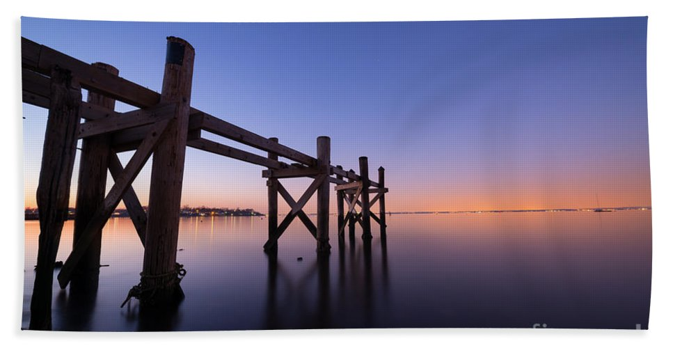 Pilings Hand Towel featuring the photograph Remaining Pilings by Michael Ver Sprill
