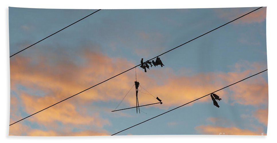 Kite Hand Towel featuring the photograph Remains Of Kite On The Electric Power Line by Michal Boubin