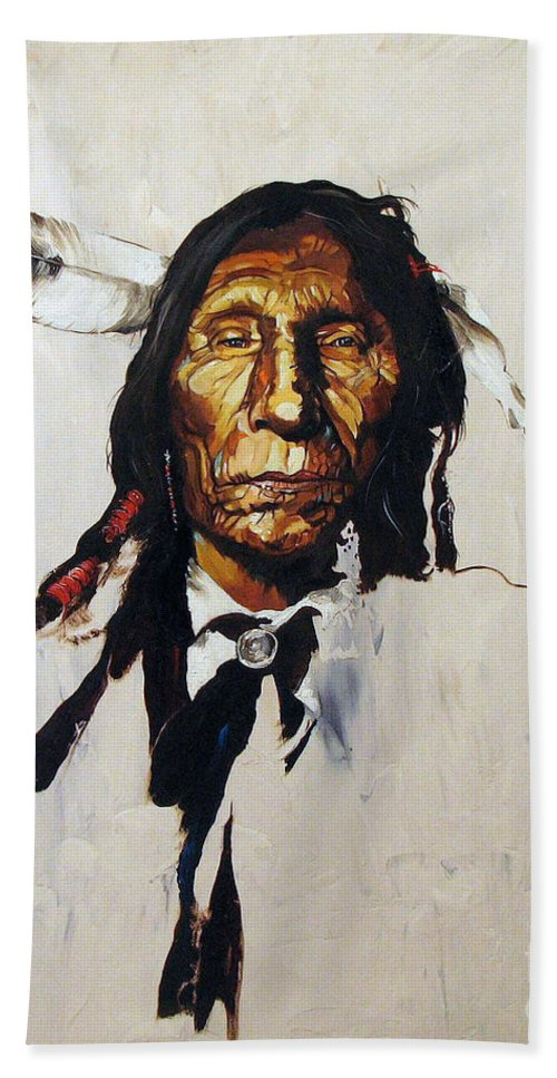 Southwest Art Bath Towel featuring the painting Remember by J W Baker