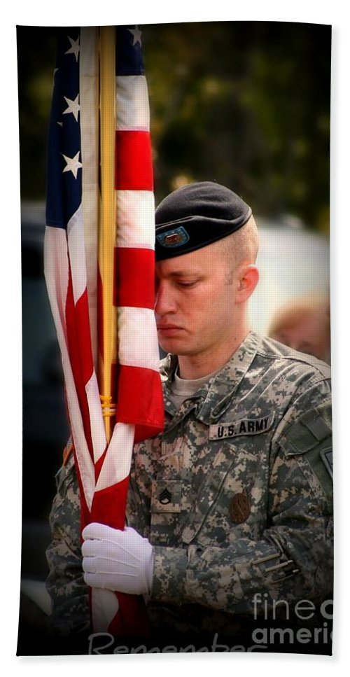 Soldier Bath Towel featuring the photograph Remember by Rick Monyahan