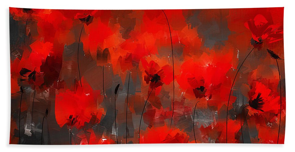 Poppies Bath Sheet featuring the painting Remembrance by Lourry Legarde