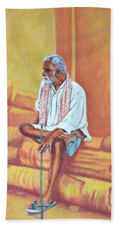 Usha Bath Sheet featuring the painting Reminiscing by Usha Shantharam