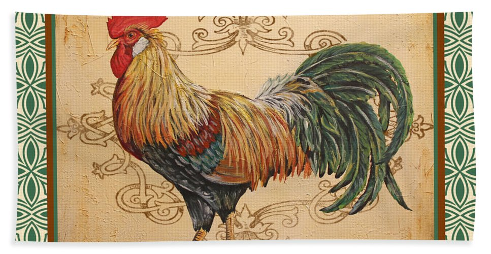 Renaissance Rooster A Green Bath Towel For Sale By Jean Plout