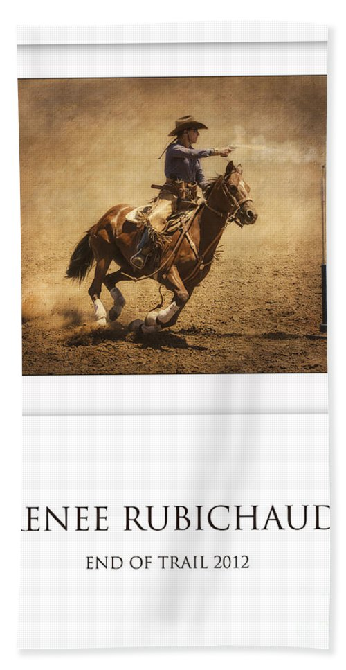 Mounted Shooting Hand Towel featuring the photograph Renee Rubichaud At End Of Trail by Priscilla Burgers