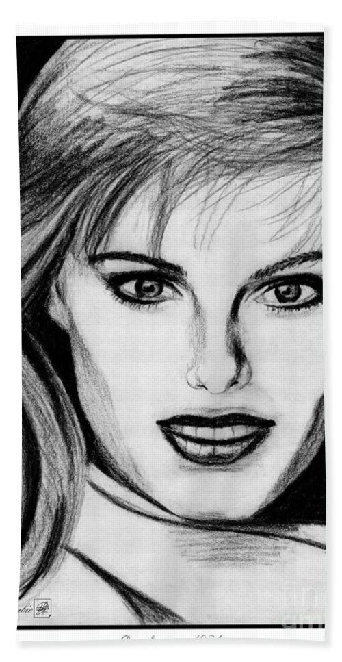 Renee Simonsen Bath Sheet featuring the drawing Renee Simonsen In 1984 by J McCombie