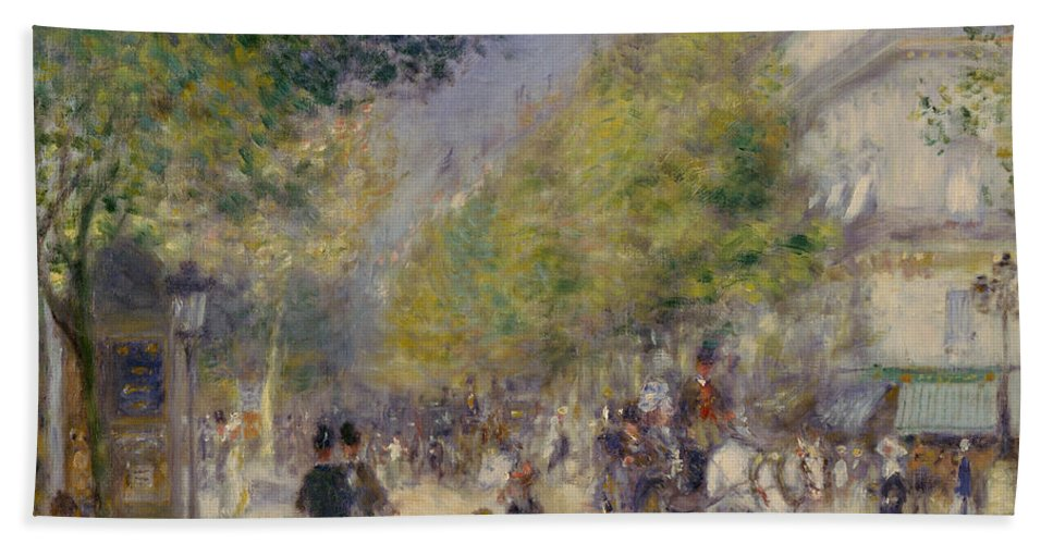 1875 Bath Sheet featuring the painting Renoir Grands Boulevards by Granger