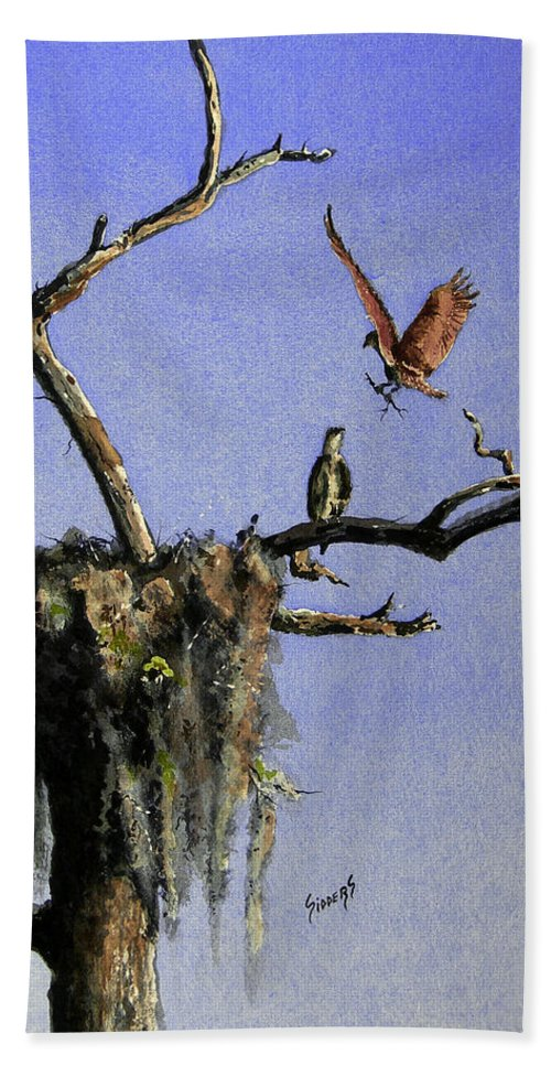 Eagle Bath Sheet featuring the painting Repairing The Nest by Sam Sidders