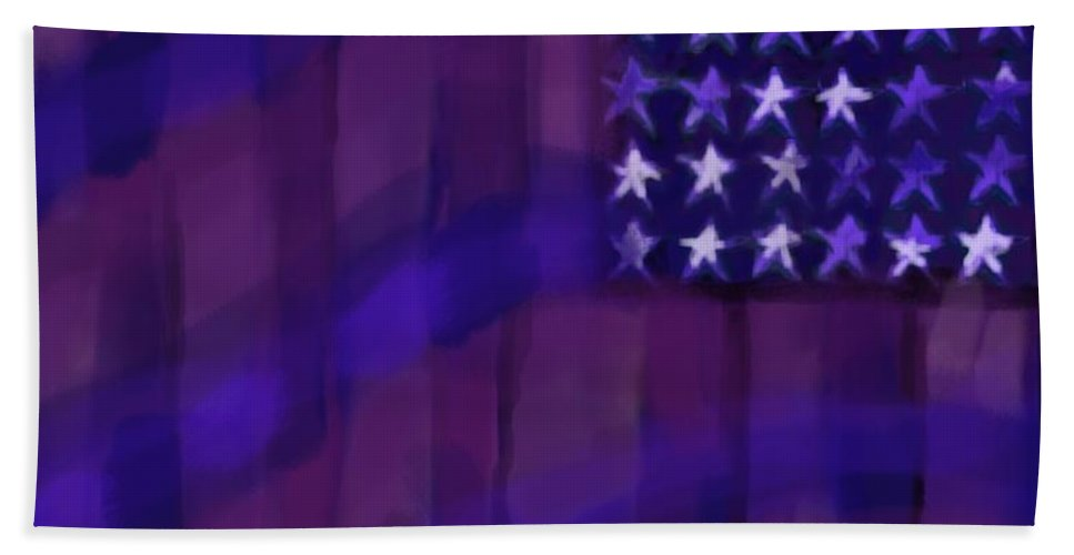 Repersentational Hand Towel featuring the painting Repersentational Flag 3 by Eric Schiabor