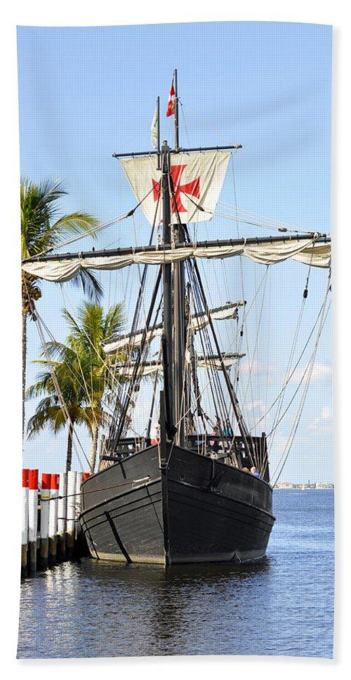 Vertical Bath Sheet featuring the photograph Replica Of The Christopher Columbus Ship Pinta by Sally Rockefeller