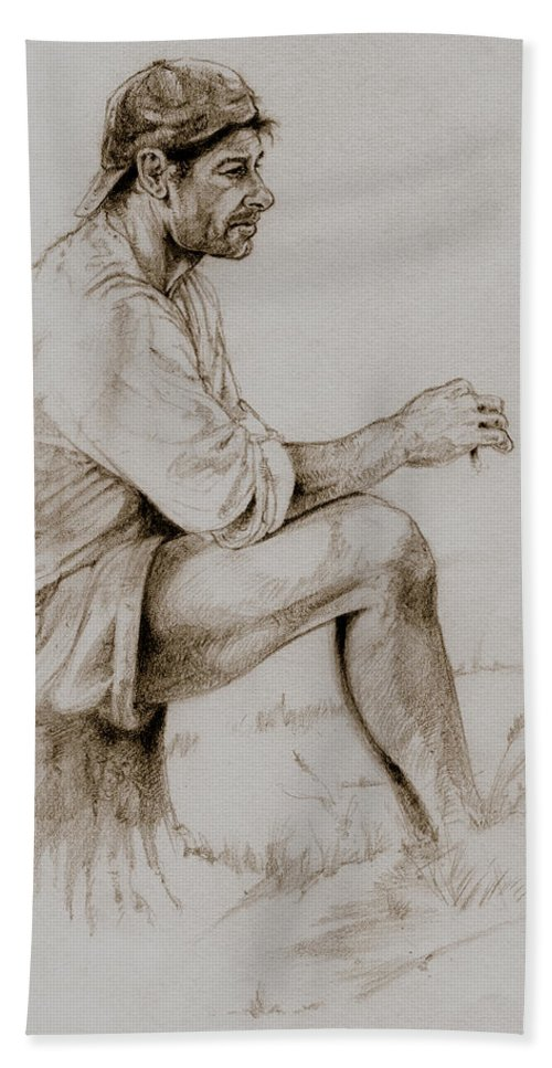 Figurative Drawings Hand Towel featuring the drawing Repose by Derrick Higgins