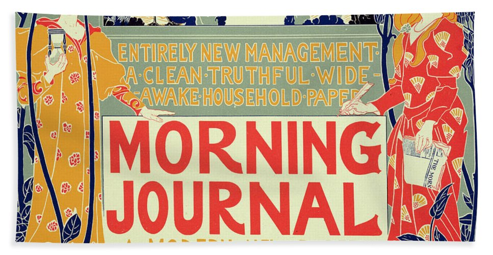 Advert Hand Towel featuring the painting Reproduction Of A Poster Advertising The Morning Journal by Louis John Rhead