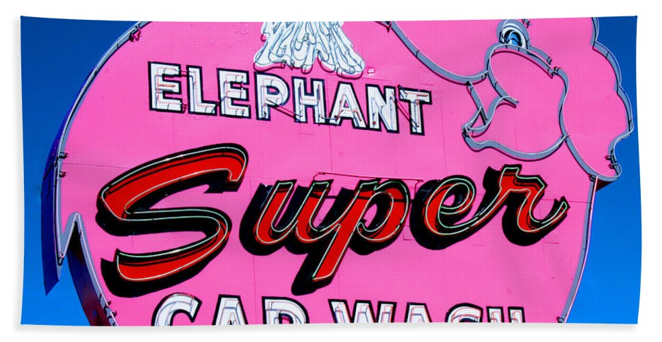 Elephant Bath Sheet featuring the photograph Elephant Super Car Wash Sign Seattle Washington by Tap On Photo